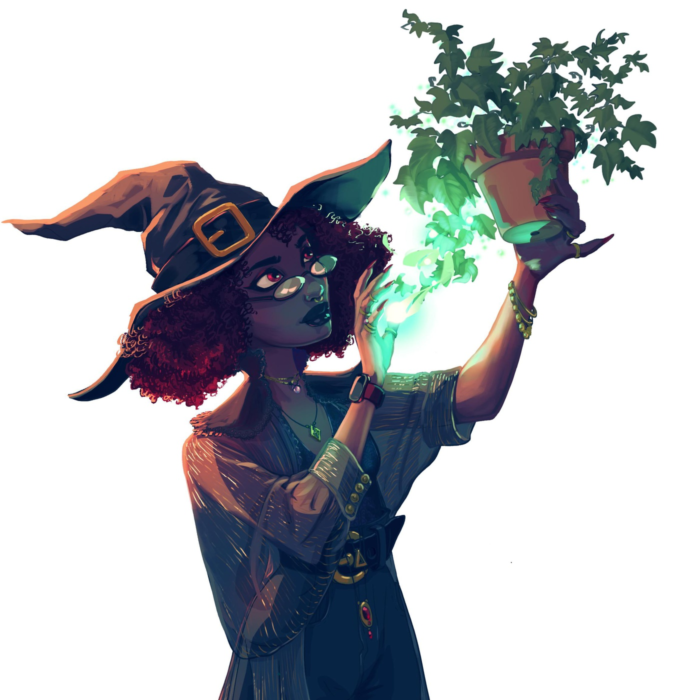 witch natural magical plant character design illustration 2d
