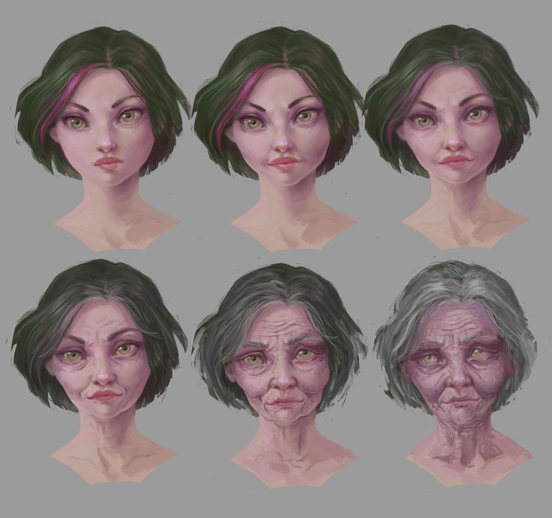 female character profile portrait aging tutorial