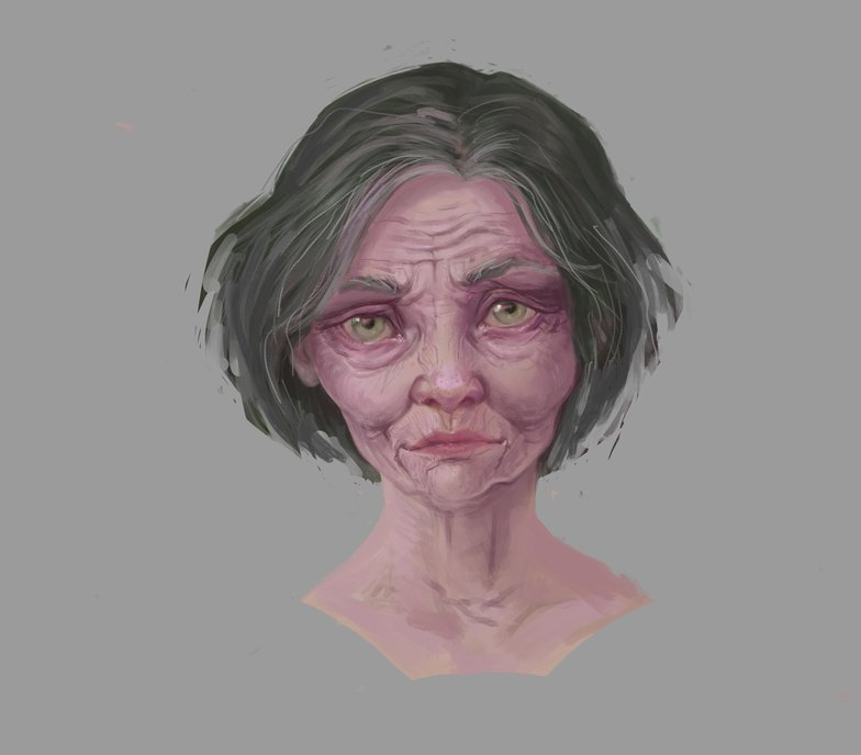 older woman aging procreate design