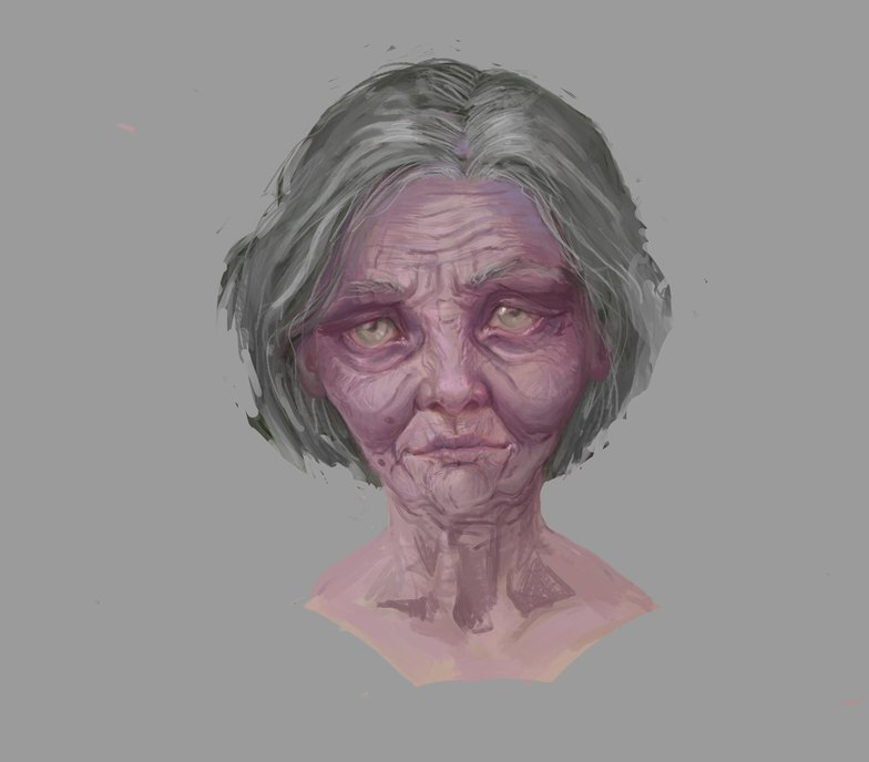 older wrinkled woman procreate