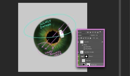 photoshop realistic eye texture tutorial model render 2d illustration