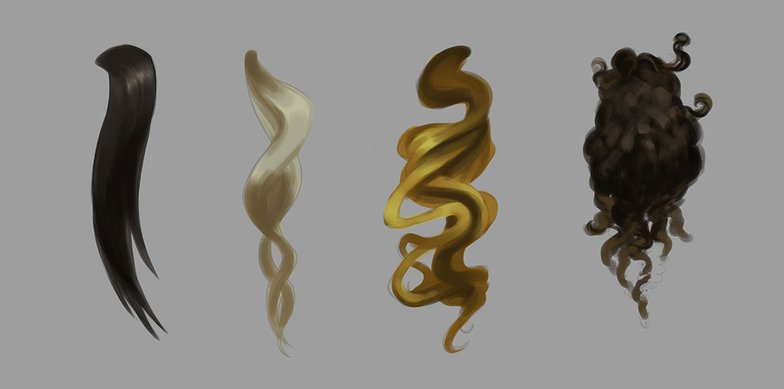 digital painting hair. Straight hair, Wavy hair, Curly Hair, Coiled hair