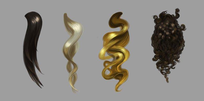 digital painting hair. Straight hair, Wavy hair, Curly Hair, Coiled hair
