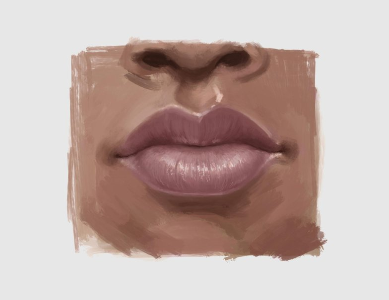 mouth and nose face illustration procreate