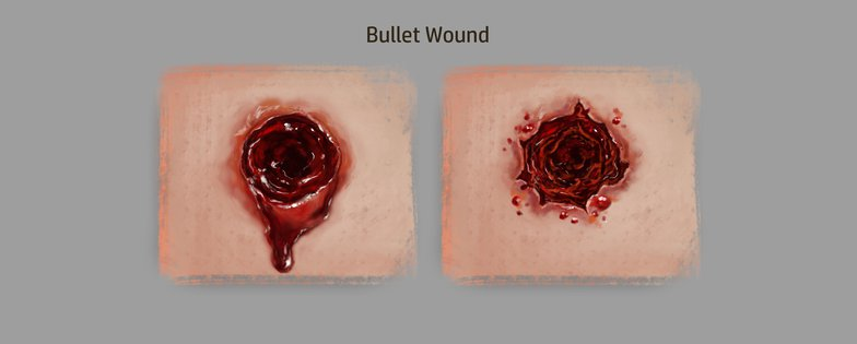 bullet wounds 2d illustration