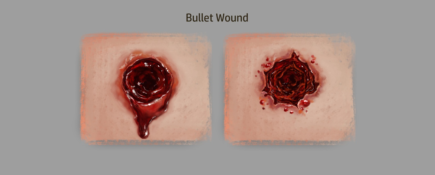 bullet wound injury realistic 2d design