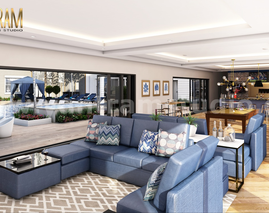 Glamorous Bar in Living Room Interior Design Firm with Gaming Area by Architectural Rendering Company, Dubai - United Arab Emiratesby Ruturaj Desai