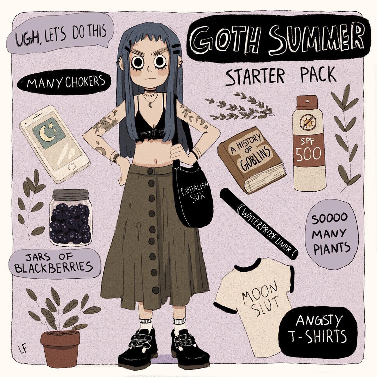 girl design goth summer