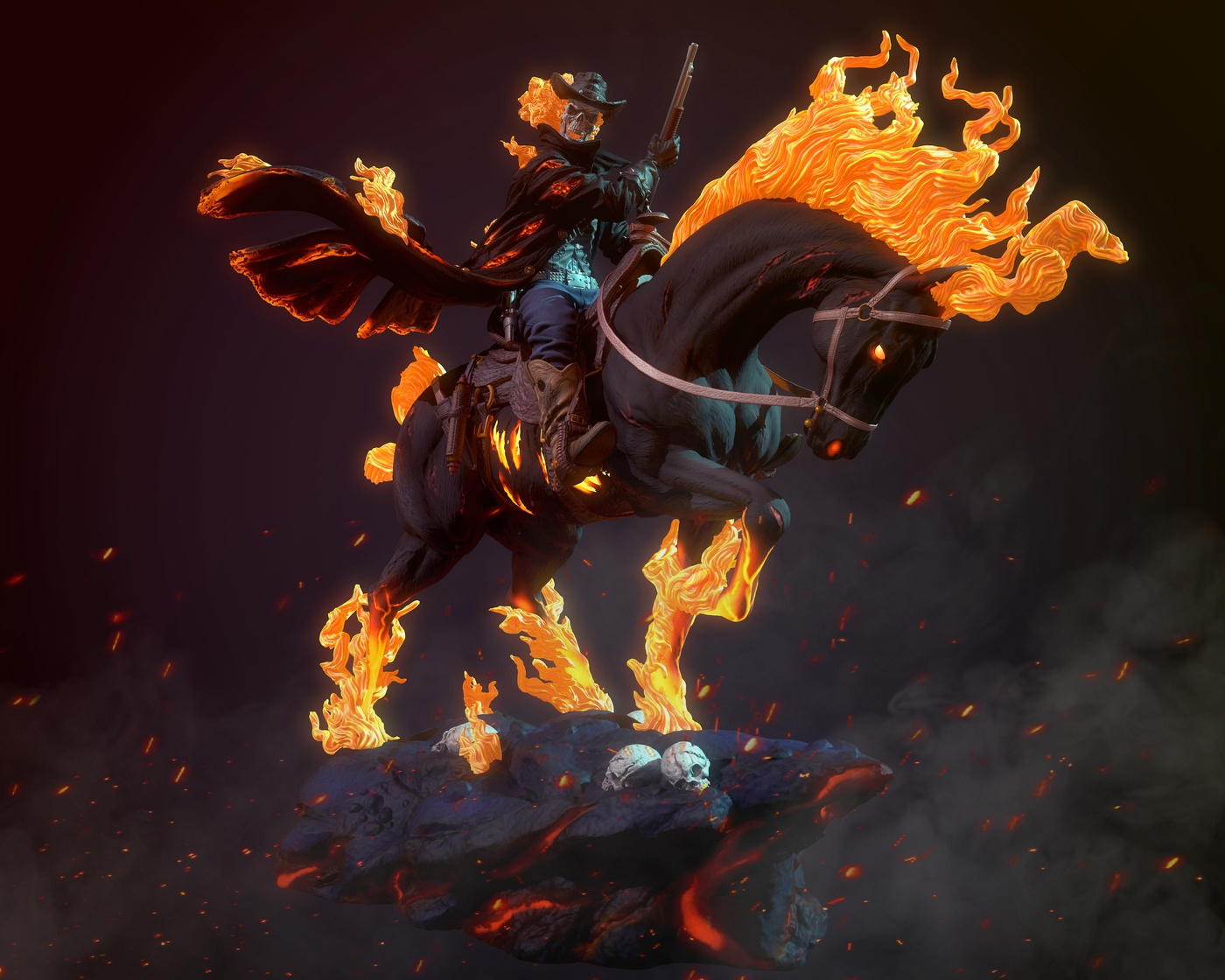 skeleton male character fire horse