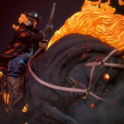fire character design 3d render fantasy