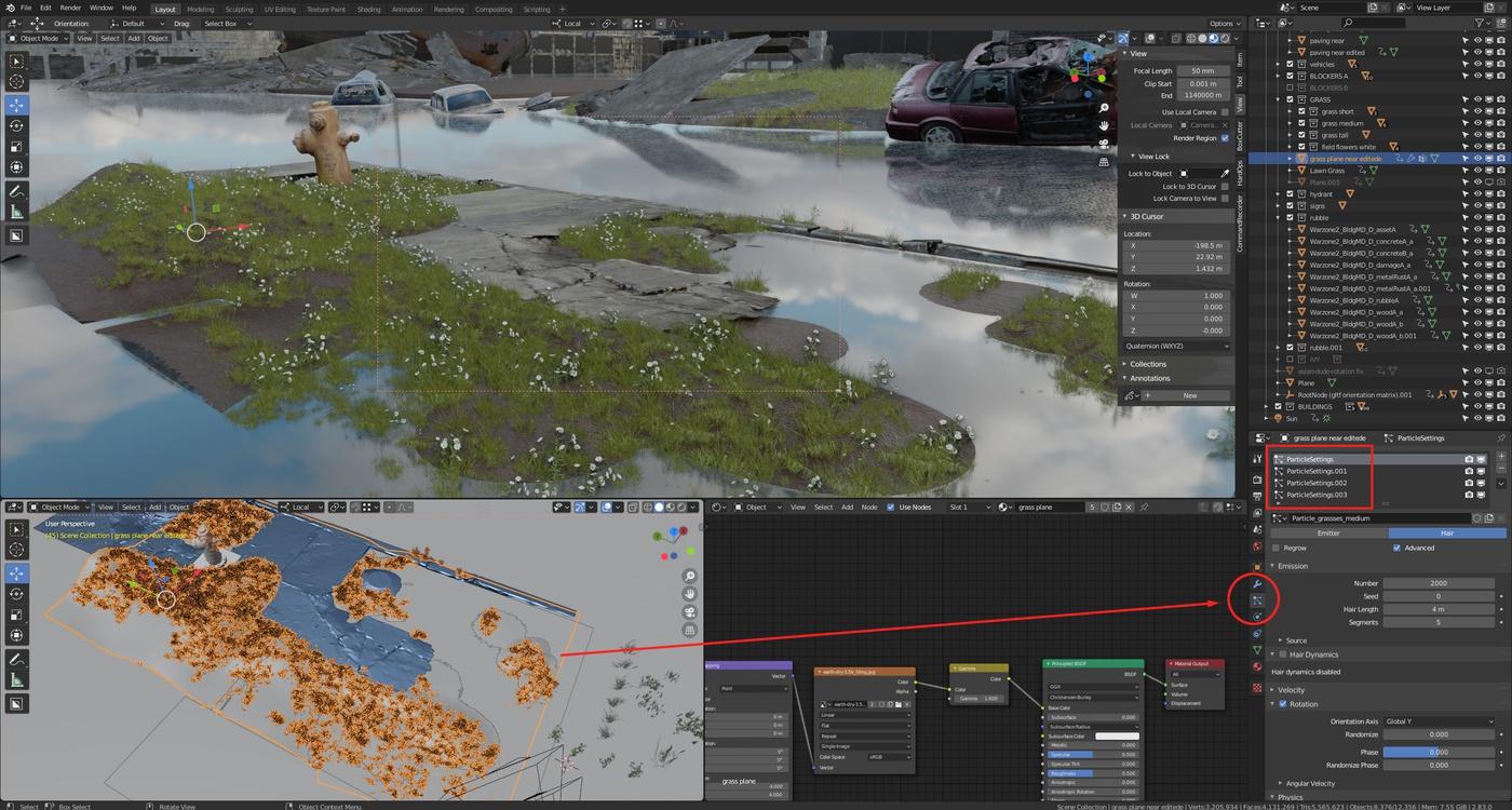 grass blender 3d model details