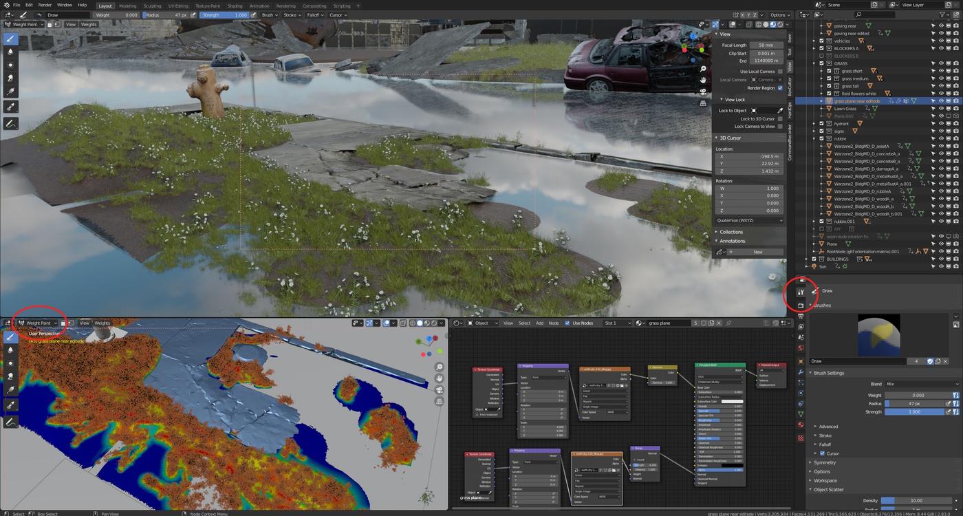 grass blades 3d modeling realism