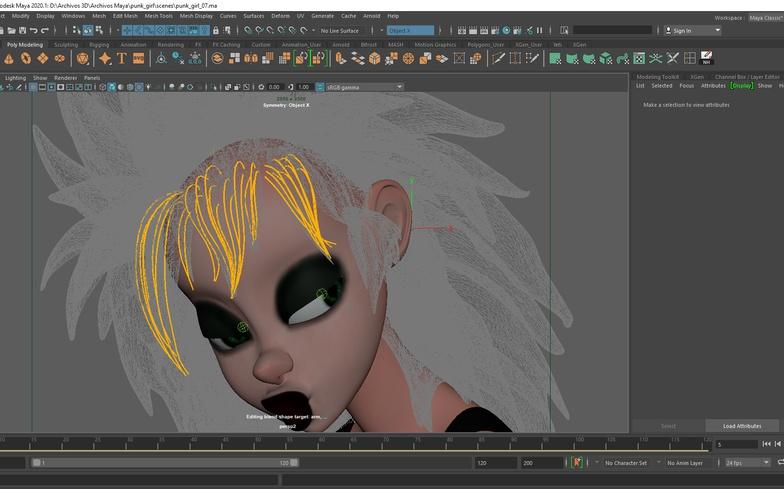 modeling 3d render girl stylised grooming