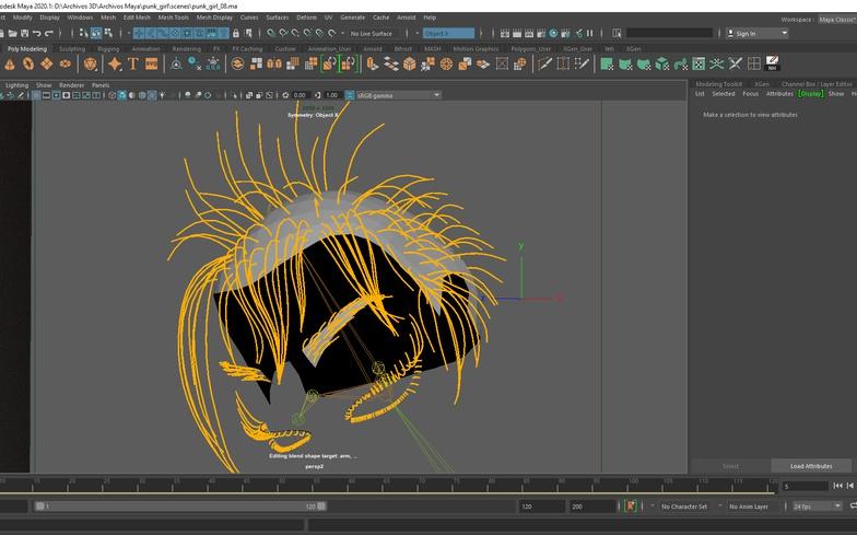 modeling 3d render girl stylised hair follicles