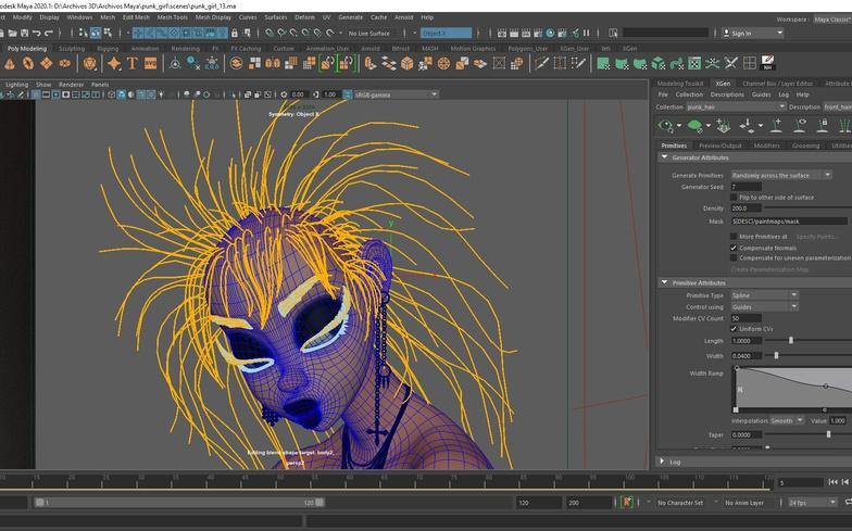 modeling 3d render girl stylised hair design