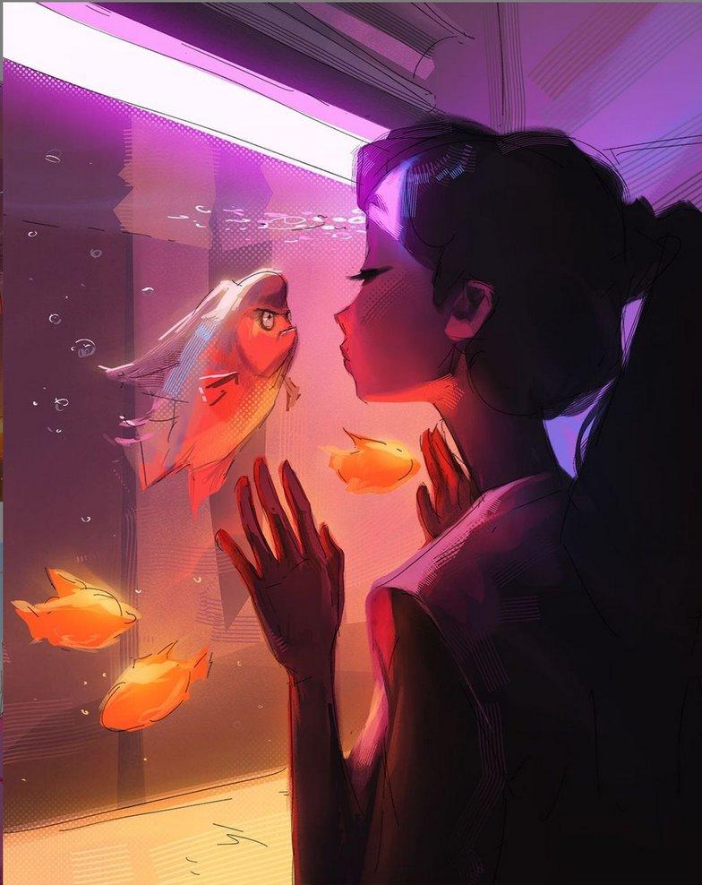 fish woman pop art 2d illustration digital art