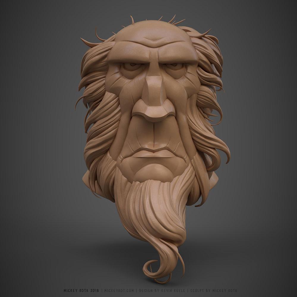 grumpy man, face, character, 3d