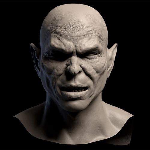 goblin male character close up 3d sculpt detailing