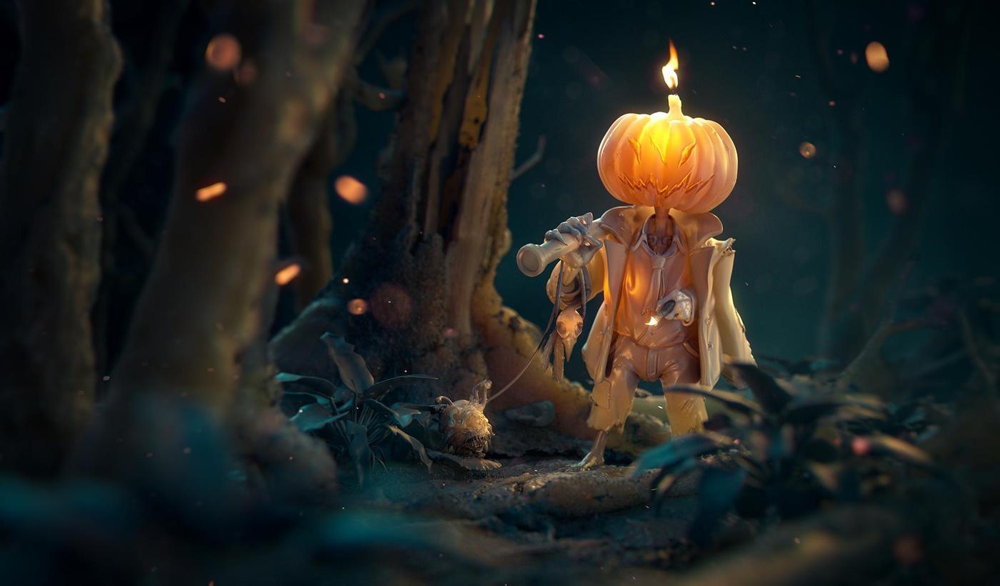 jack halloween 3d render autumn model character design pumpkin