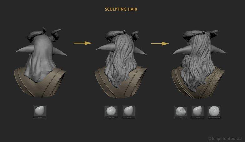 sculpting hair