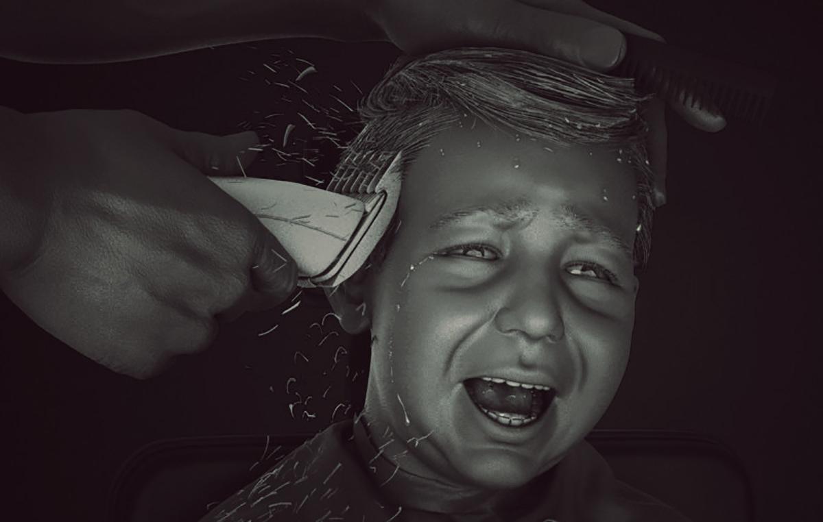 young boy having haircut model