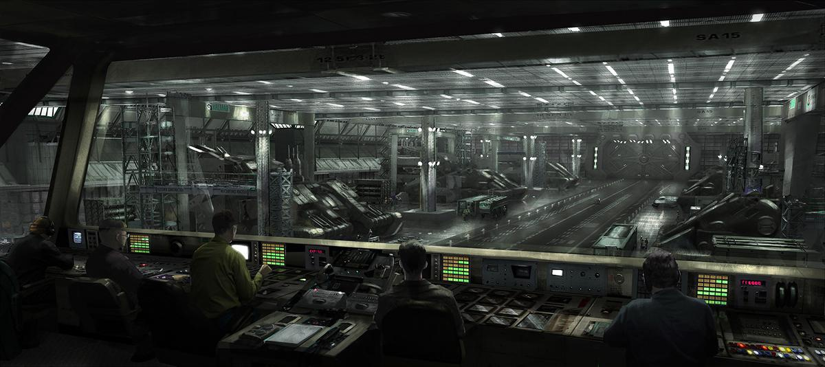battle ship sci-fi indoor landscape