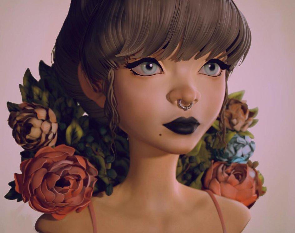 zbrush 3d model loish inspired design character female