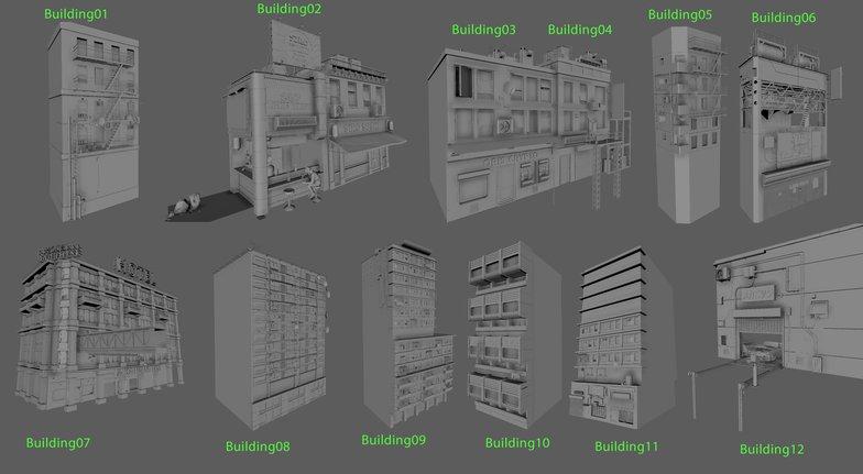 building types styles render sculpts realism 3d
