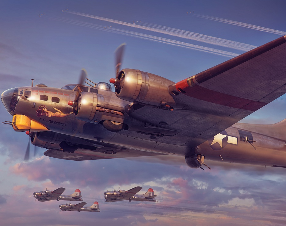 """£5 with Breakfast"" B-17G Flying Fortress for Hong Kong Models Co Ltd.by Piotr Forkasiewicz"
