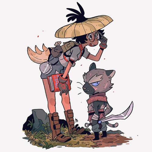 hunter girl and animal character design