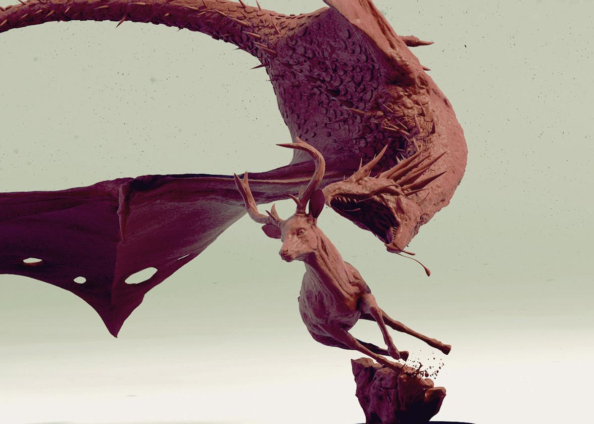 dragon hunting dear 3d model