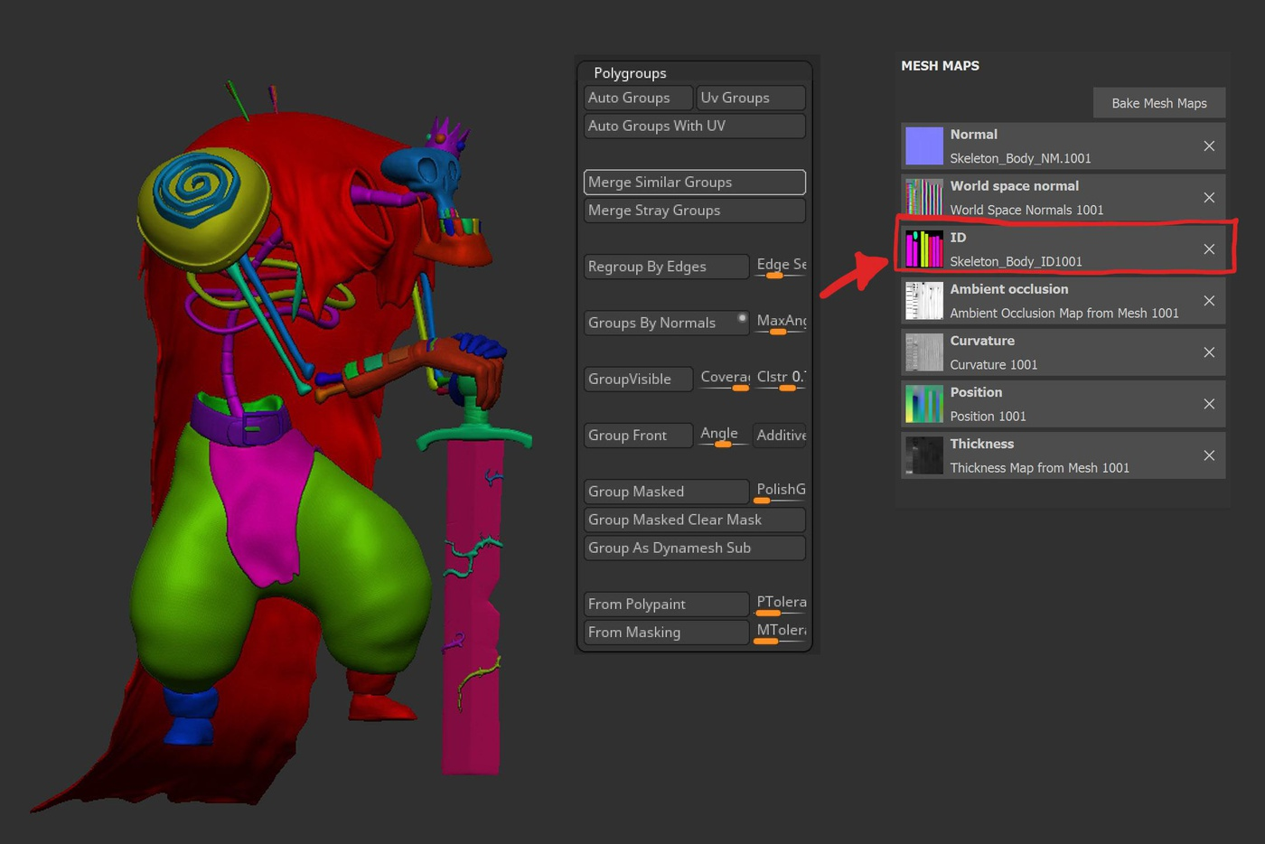 ID colors zbrush masking mapping texturing polygroups
