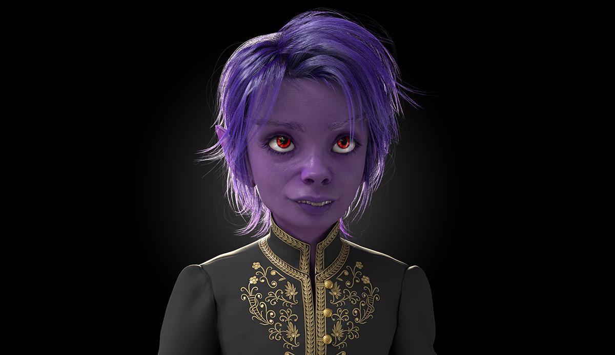 purple monster woman 3d model