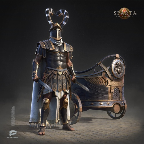 warrior greek roman male character design model render 3d