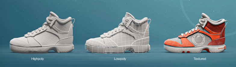 highpoly textured shoes