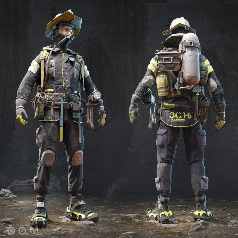 3d character model firemen
