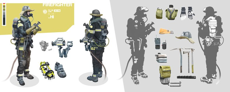 firefighter concept 3d render model design