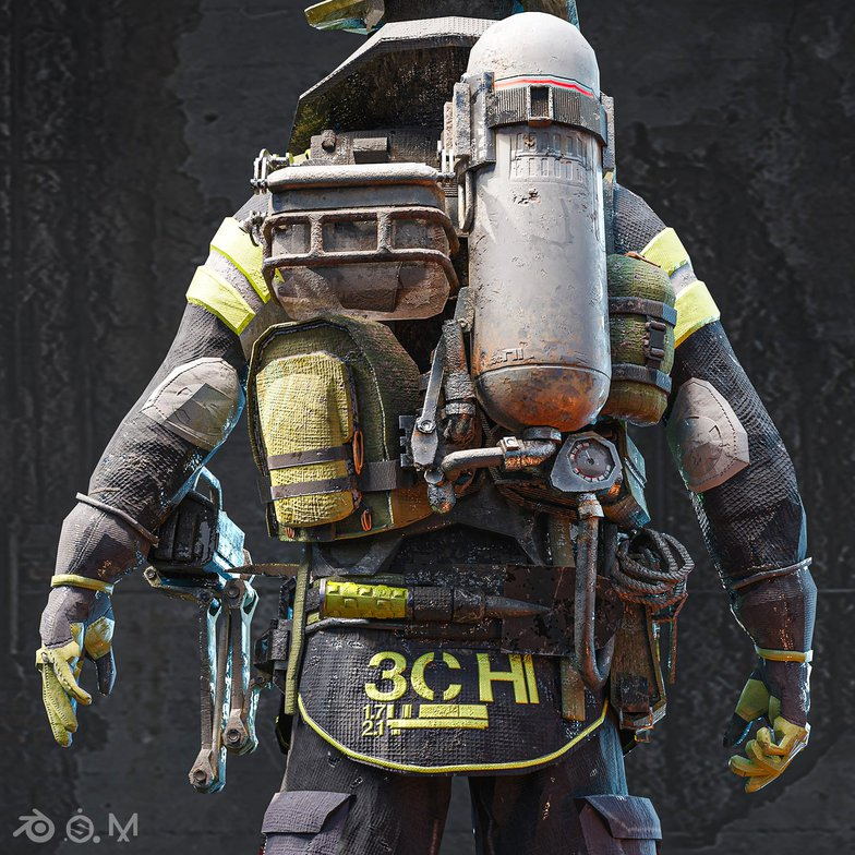firefighter detailing 3d model character design