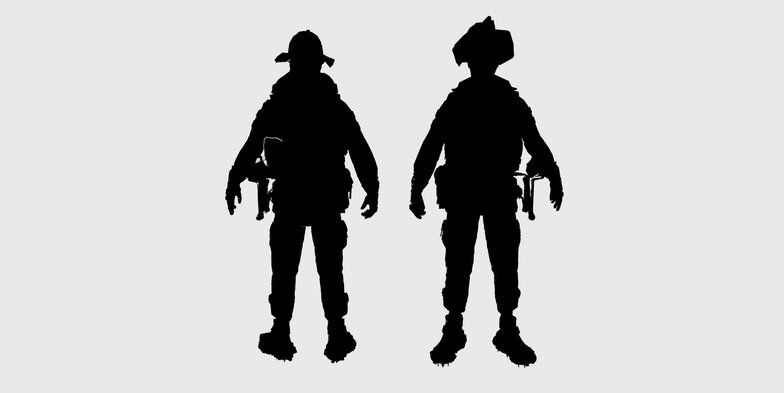 firefighter silhouette character design