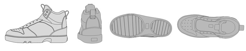 blueprints for 3d model of shoes