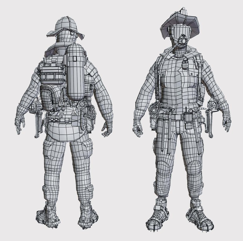 wireframe final model  3d character