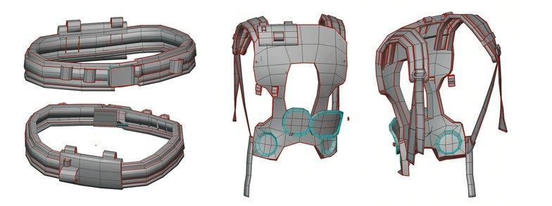 belt backpacks previsualization model 3d