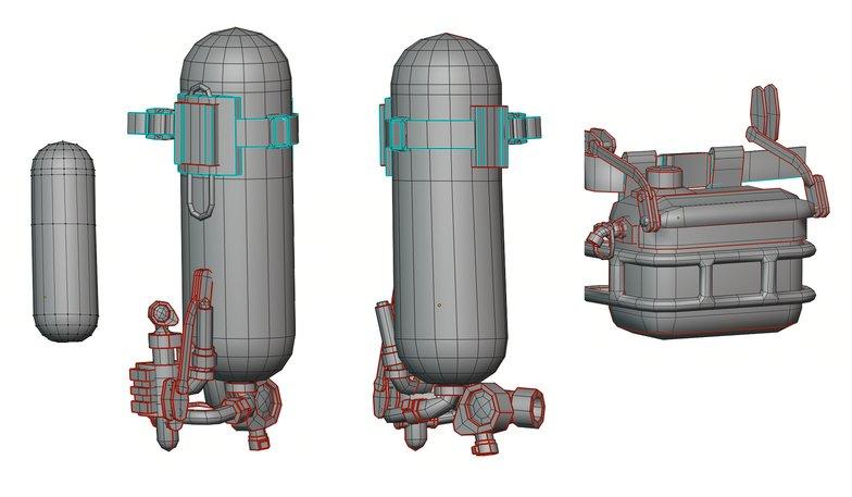 oxygen bottle highpoly rendering