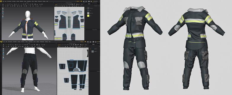 cloth simulations 3d model firefighter