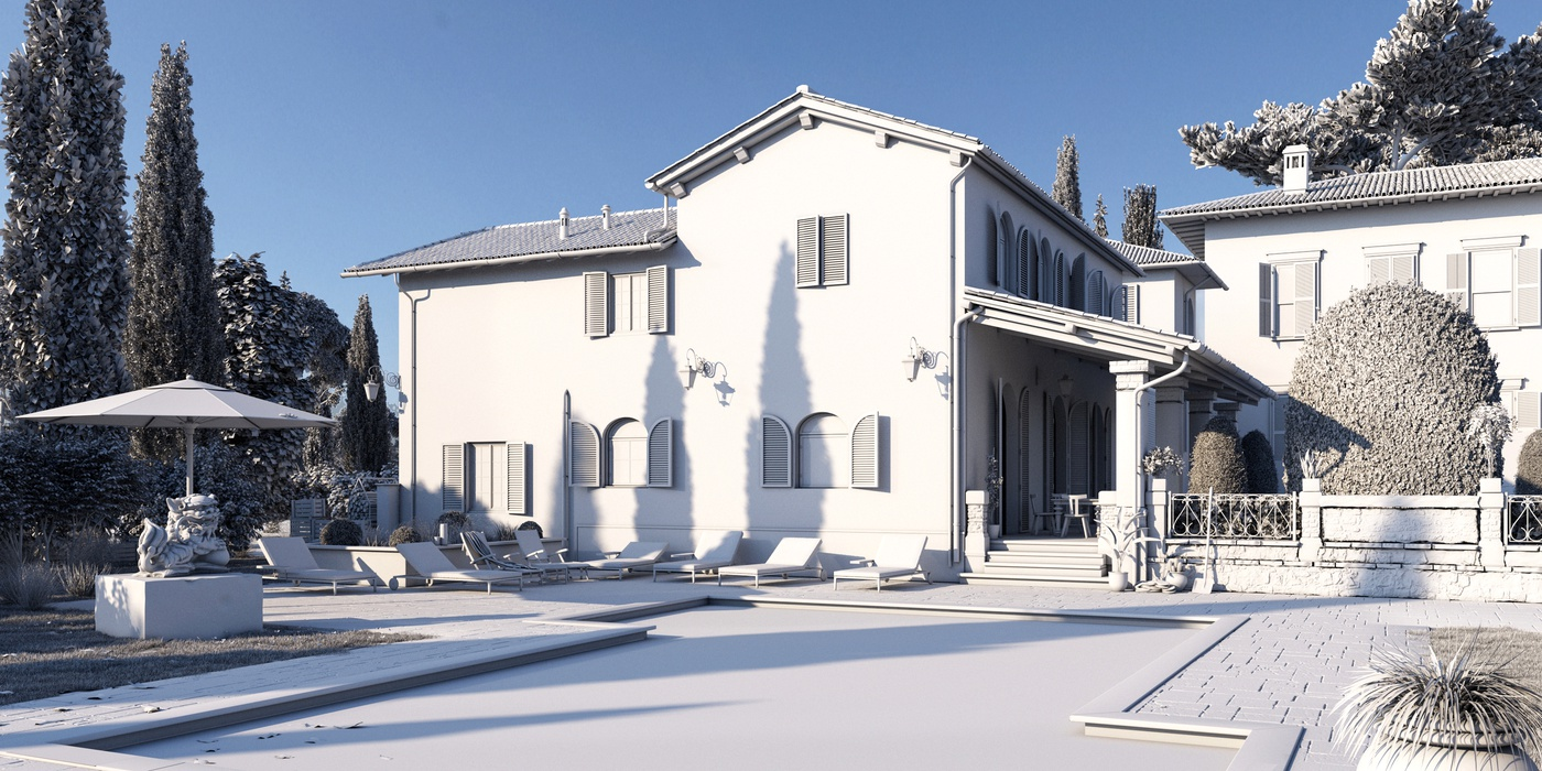3d model holiday home mansion house render sculpt environment