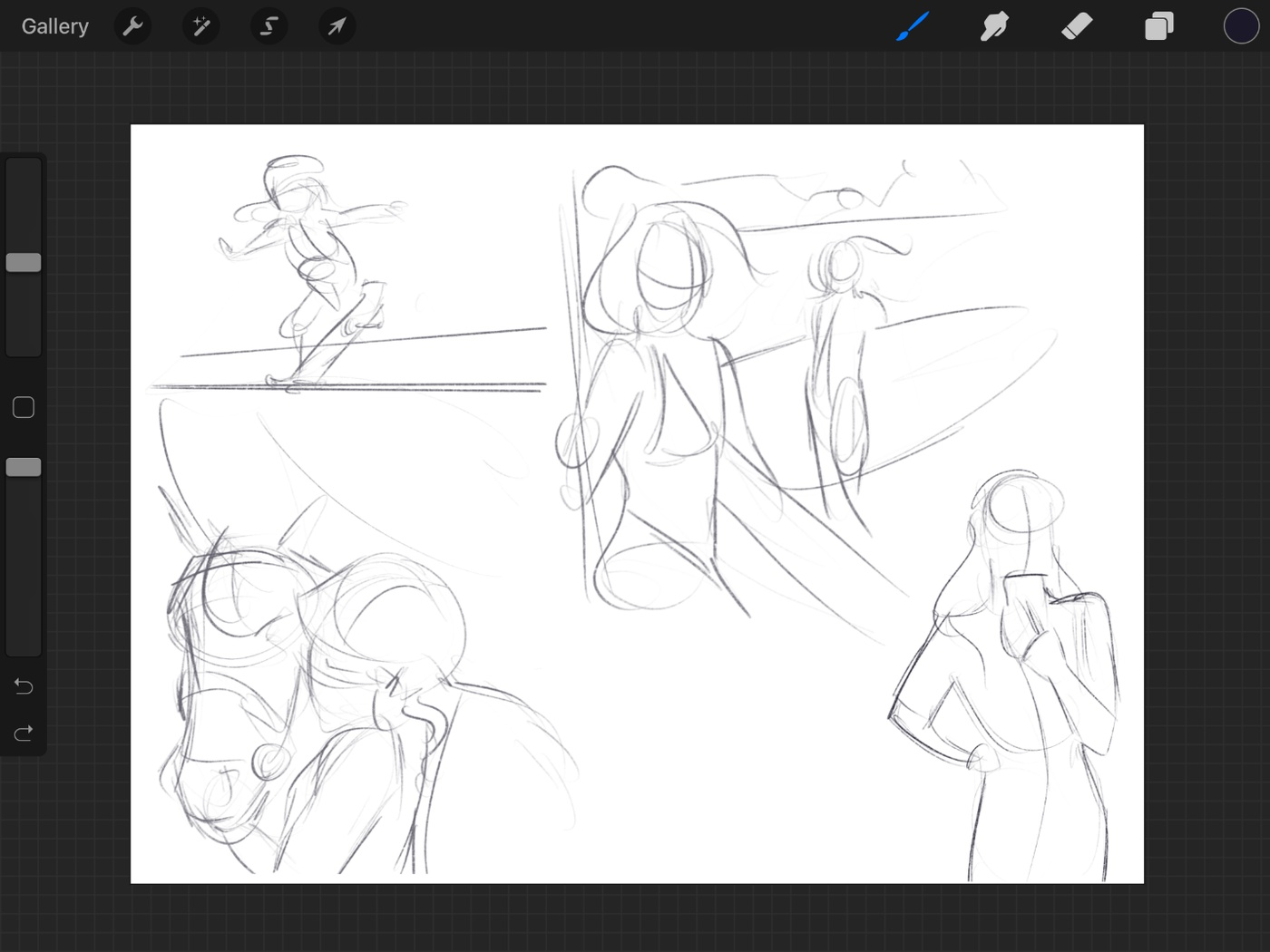 thumbnail sketches loose drawing procreate 2d illustration