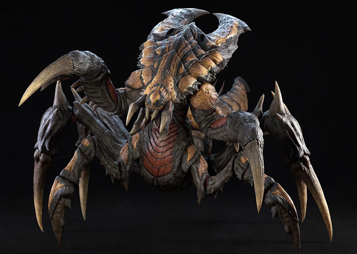 vfx gci 3d beetle creature model