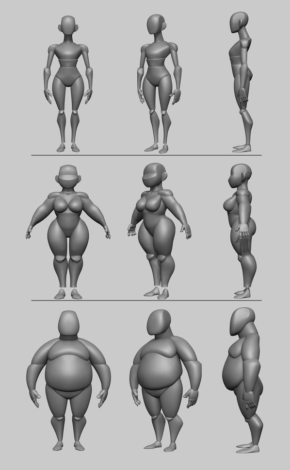 body types character 3d model sheet