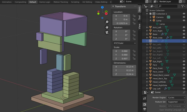 viewport outliners multiple object 3d render