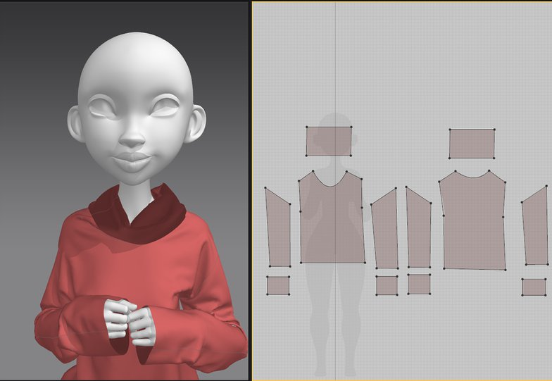 3d modelling jumper with girl